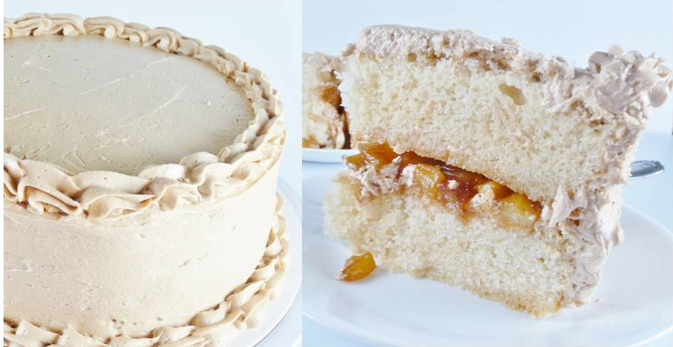 White Cake With Apple Filling And Maple Frosting Kendra S Treats