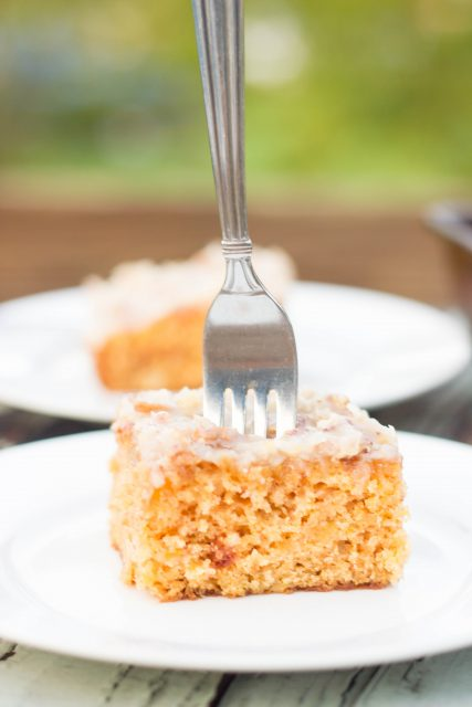 Peach Sheet Cake With Coconut Pecan Frosting Kendra S Treats