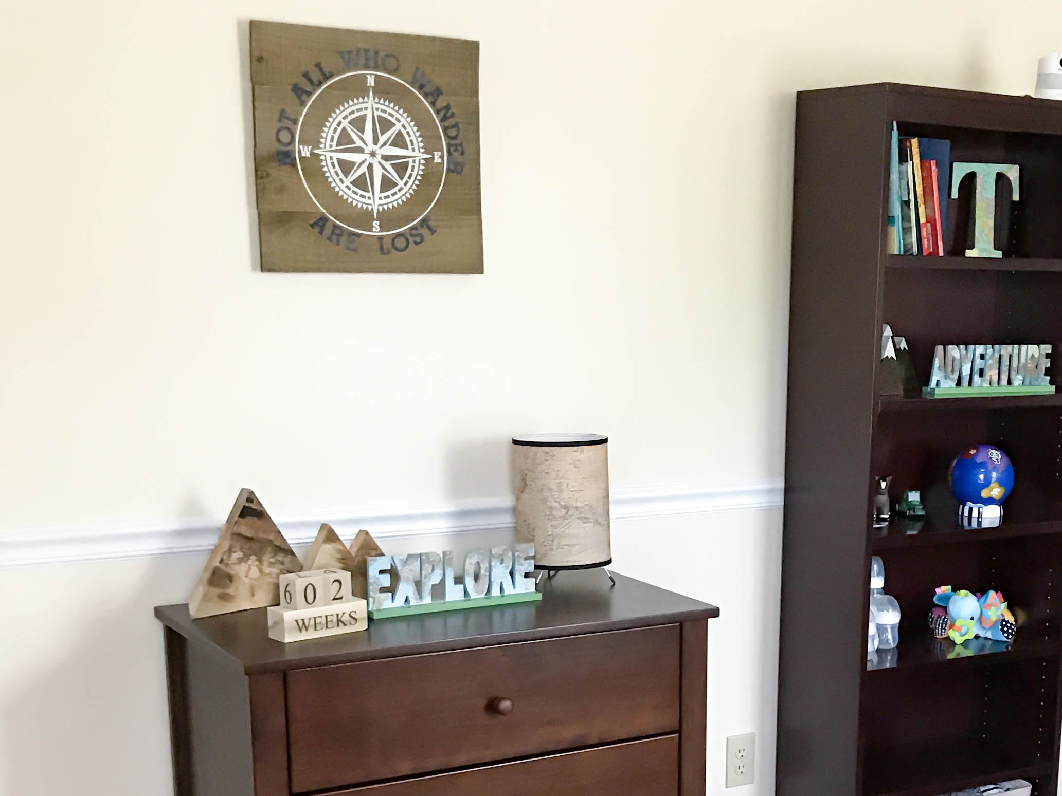 Adventure themed nursery tour kendras treats decoration theres another set on the bookshelf my mom bought us the lamp its hard to see in this picture but the shade is actually a world map gumiabroncs Image collections